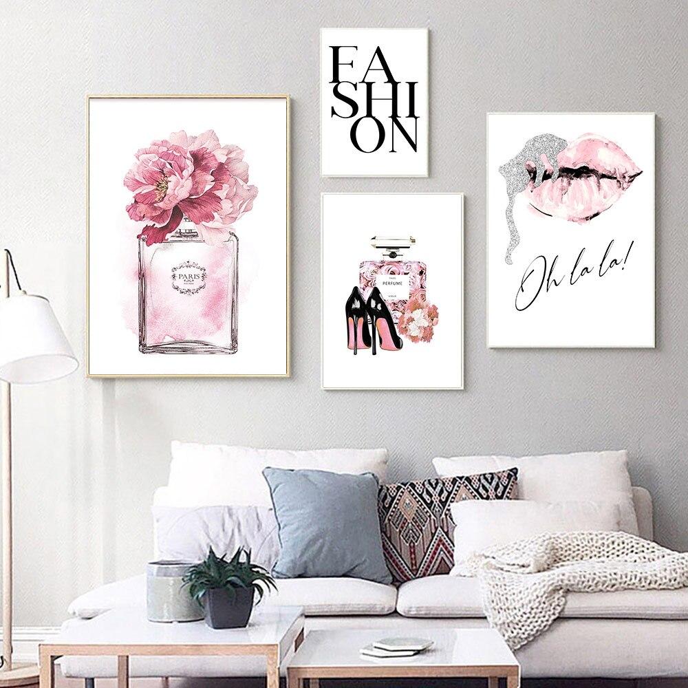Pintura en lienzo de Perfume rosa con estampado de labios y tacones altos, póster abstracto de pared con flores, póster moderno con imagen de rosa, decoración para sala de estar