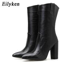Eilyken 2020 nova serpentina botas ankle boot salto alto senhoras grossas apontou toe inverno cowboy bottines sapatos tamanho 41 42