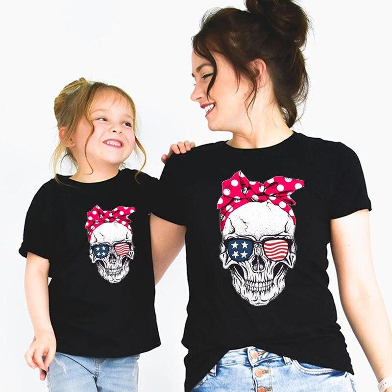 Забавная футболка «Мама и я» с изображением черепа одинаковые Семейные комплекты для мамы и дочки, футболка подарок на Рождество и День мат...
