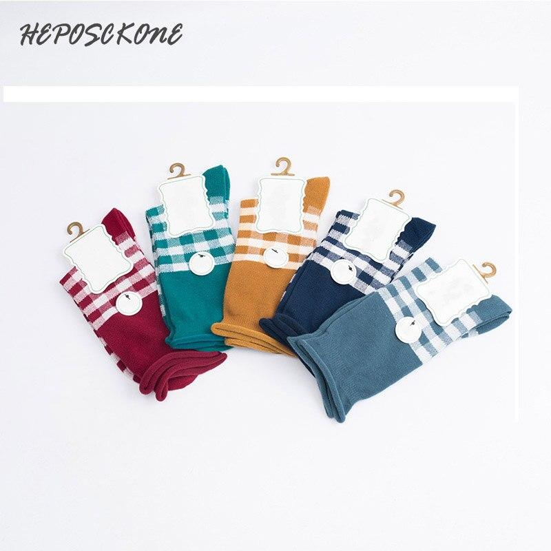 Novo outono inverno moda faculdade estilo criativo grade listra padrão algodão meias femininas tubo penteado meias das senhoras bonito maré sox