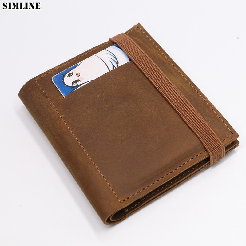 2021 Genuine Leather Wallet For Men Brand Real Cowhide Vintage Handmade Short Bifold Small Slim Wall
