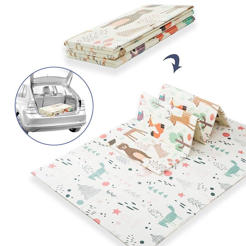 Educhild Baby Playmat 180*200*2cm Thicker XPE Foldable Crawling Carpet Kids Non-slip Waterproof Game Activity Rug Soft Blanket enlarge