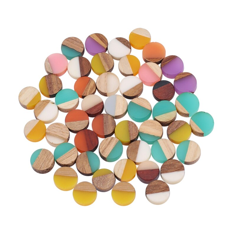 50pcs 10mm Resin & Wood Cabochons Cabochon Flat Back for Jewelry Making DIY Bracelet Earring Accessories 10x3.5~4mm