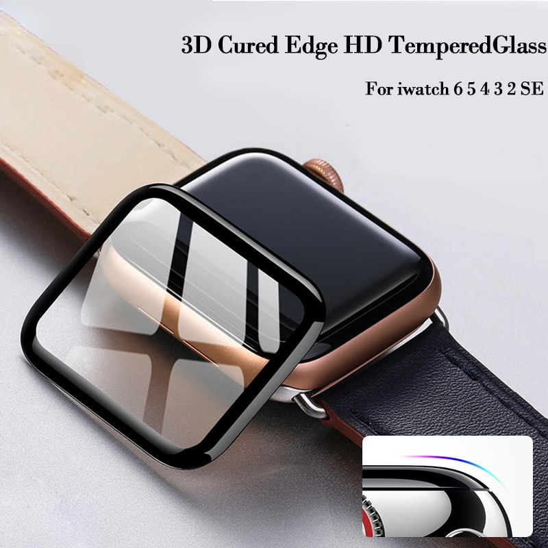 100d curved tempered glass for apple watch series 38 40 42 44 38 42mm hd screen protector film for iwatch 5 4 3 2 1 full glue 3D Curved Edge HD Tempered Glass for Apple Watch Series 3 2 1 38MM 42MM Screen Protector film for iWatch 4/5/6/SE 40MM 44MM