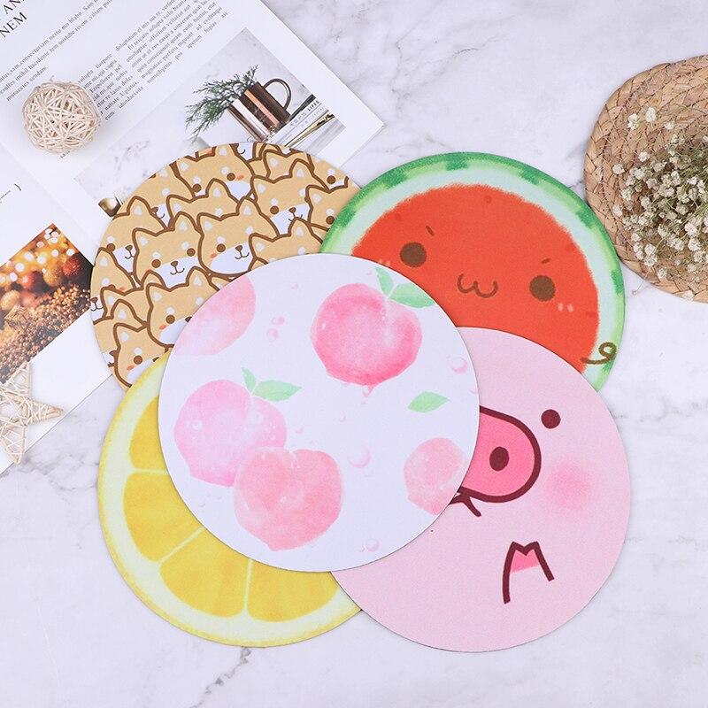 Bonita alfombrilla de ratón de frutas alfombrilla redonda suave y grueso sandía limón melocotón verano