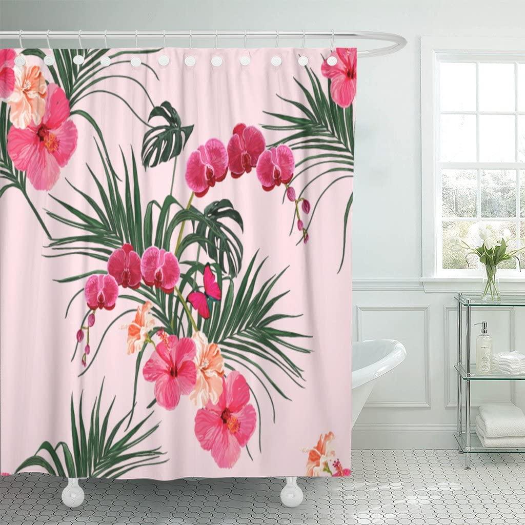 """Rosa miami belo verão floral com folhas de palmeira tropical orquídea hibisco cortinas de chuveiro perfeito 72 """"x 72"""" banho decorativo"""