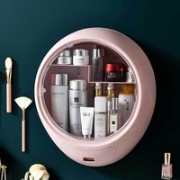 wall mounted cosmetic box bathroom without punching without trace stickers round storage box large space jewelry storage box