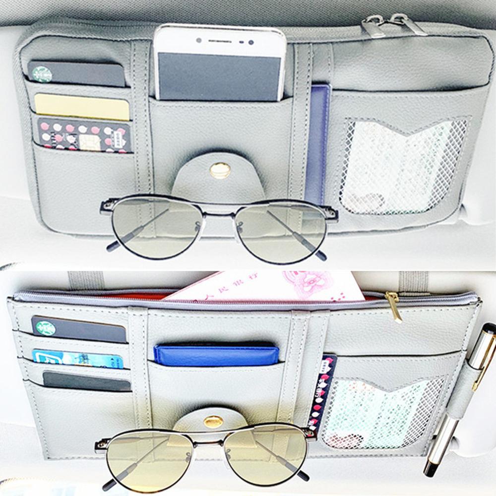 New Car Sun Visor Organizer Storage Holder Car Styling Visor Clip Sunglasses Holder Card Ticket Storage Bag Pouch Car Organizer
