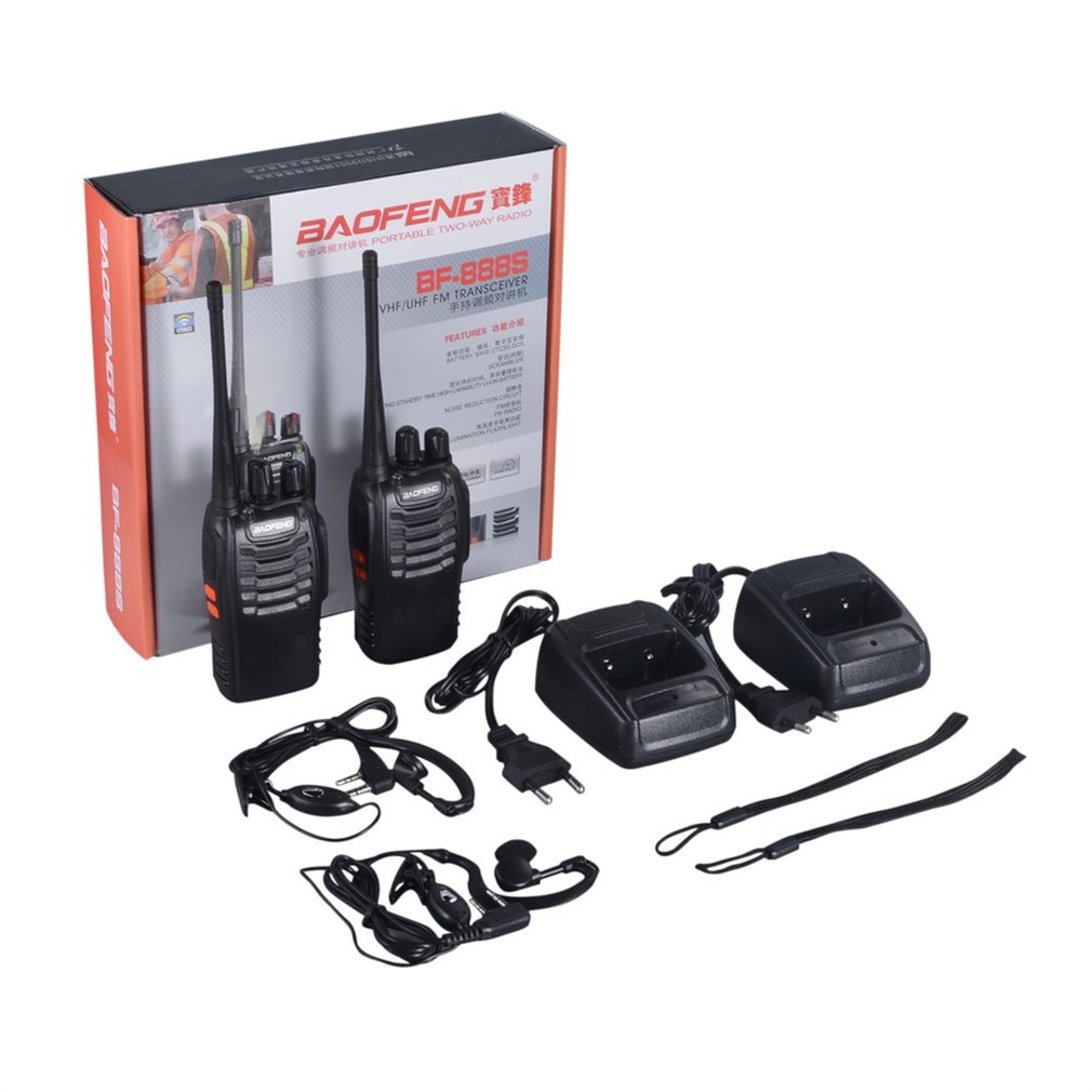 2pcs vhf/uhf baofeng BF-888S portátil fm transceptor recarregável walkie talkie em dois sentidos 5w 2-way presunto rádio comunicador