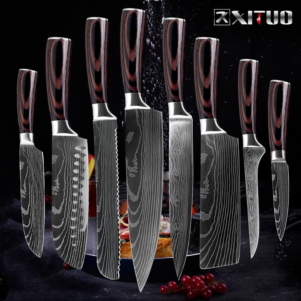 XITUO нож шеф-повара кухонный японский Кливер нож cuchillos de cocina кухонные инструменты Мясник сашими нож garmny santoku инструмент для нарезки