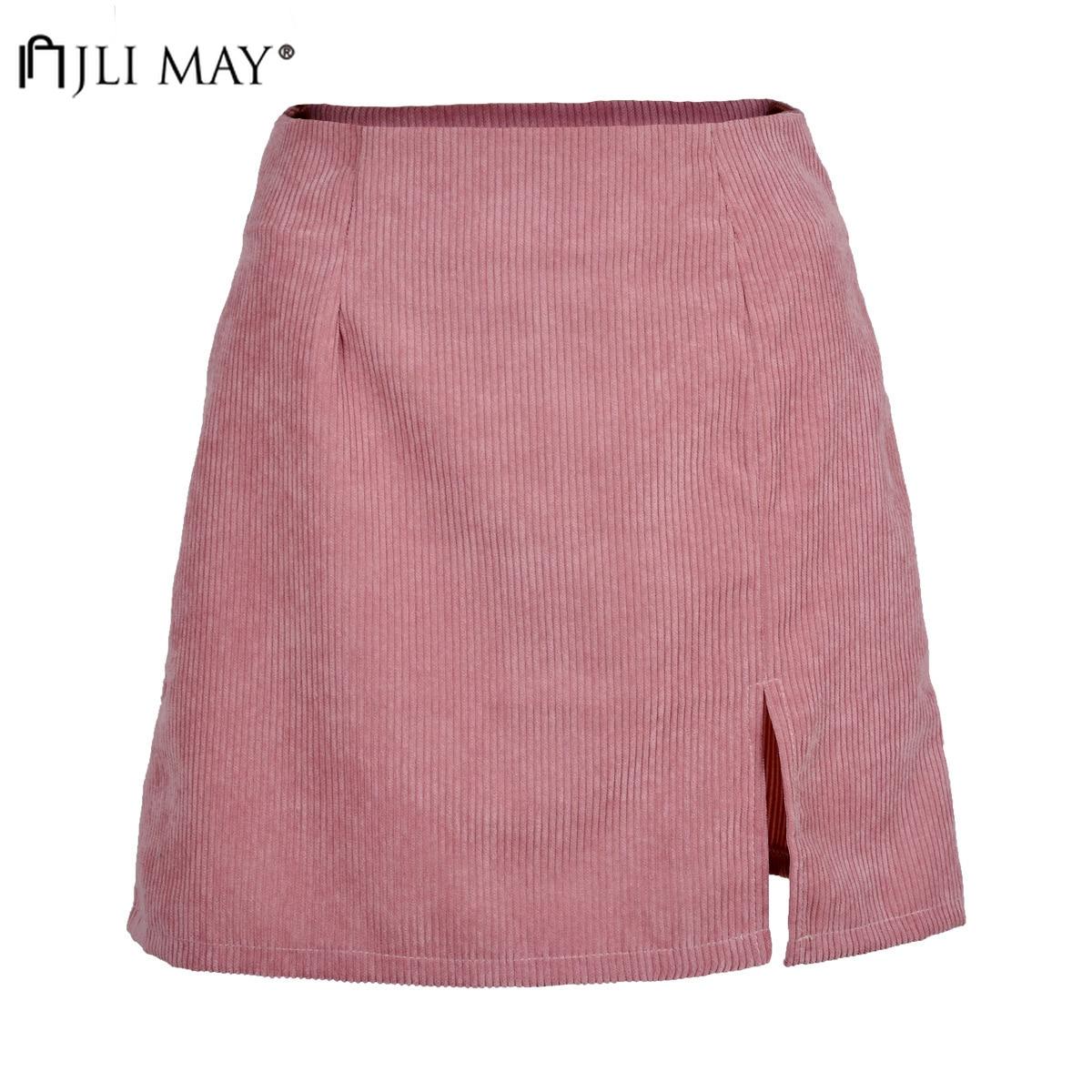 JLI MAY PANA Split A-Line Falda Mujer Casual sólido Mini alta cintura Otoño Invierno Faldas Mujer ins estilo coreano ropa