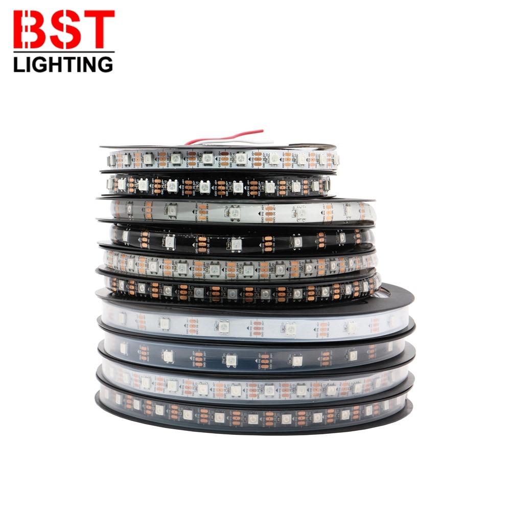 AliExpress - DC5V WS2812B WS2812 Smart 5050 RGB LED Strip Individuaily Addressable Light Tape 30/60/144Pixels/m Black/White PCB IP30/65/67