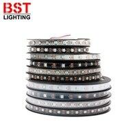 Светодиодная лента WS2812B WS2812 Smart 5050 RGB, индивидуальная Светодиодная лента адресный свет 30/60/144 пикс./м, черная/белая печатная плата IP30/65/67, 5 в пос...