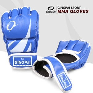 2020 New MMA Gloves PU Leather Punch Gloves Black Red Blue Adult Male Fighting Training Boxing Half Finger Gloves Fitness Sports