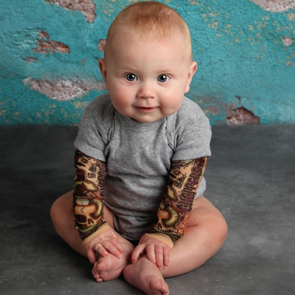 Winter Neugeborenes Baby Kleidung Tattoo Gedruckt Langarm Patchwork Strampler Herbst Körper anzug Overall Kinder Outfits Kleidung # p4