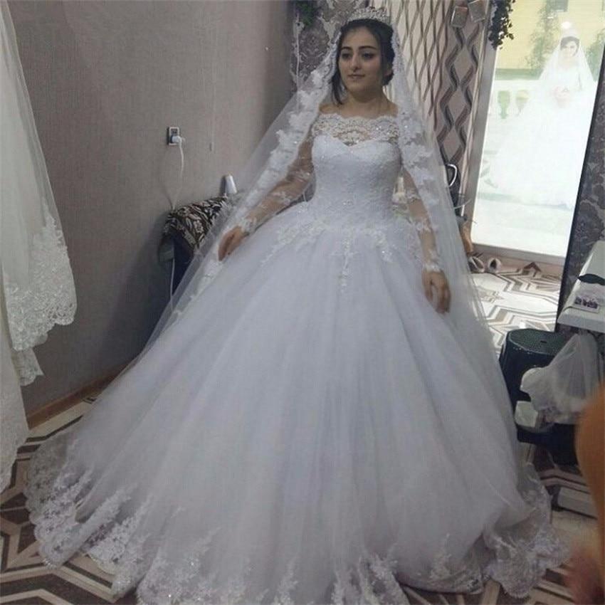 Свадебные платья NUOXIFANG, новинка, изготовленные на заказ кружевные свадебные платья с длинным рукавом, винтажные Пушистые свадебные платья, ...