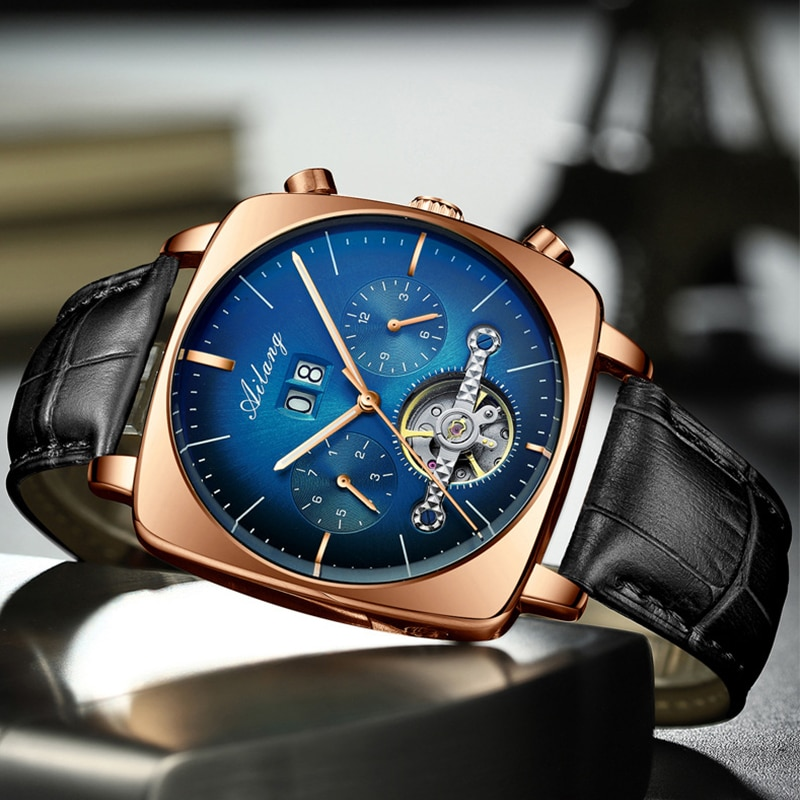 Swiss famous brand watch chronograph square large dial watch hollow waterproof new men's fashion automatic mechanical watch