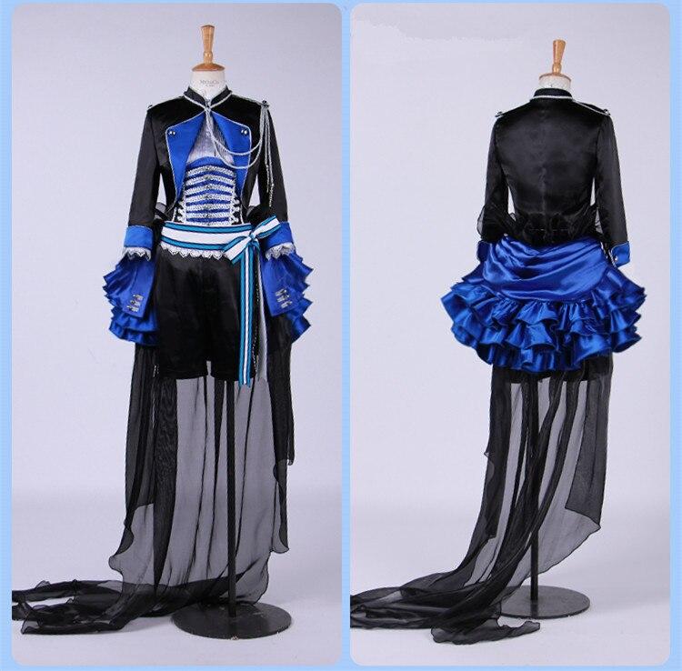 Disfraz de Cosplay de Ciel Phantomhive, diseño azul, negro, disfraz de mayordomo