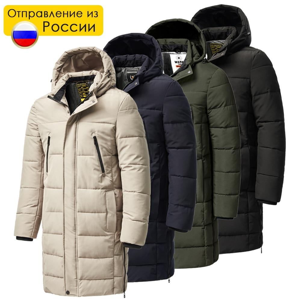 Men 2021 Winter New Plus Long Warm Thick Hood Parkas Jacket Coat Men Autumn Outwear Outfits Classic Windproof Pocket Parka Men
