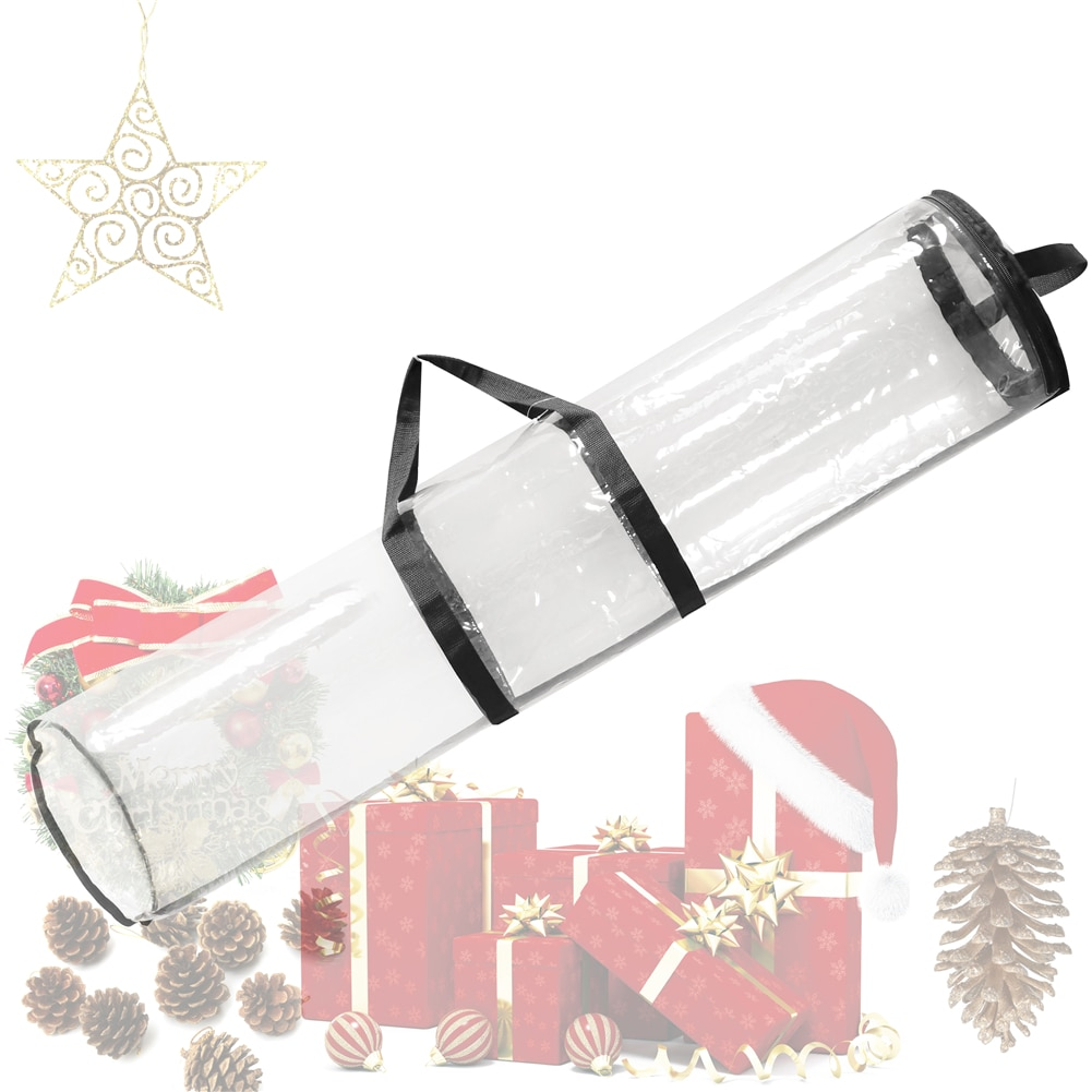 100*24cm 24 rollos 40 pulgadas PVC regalo de Navidad, papel de envolver, bolsa organizadora para almacenamiento, bolsa transparente, envoltorio con cremallera con asas
