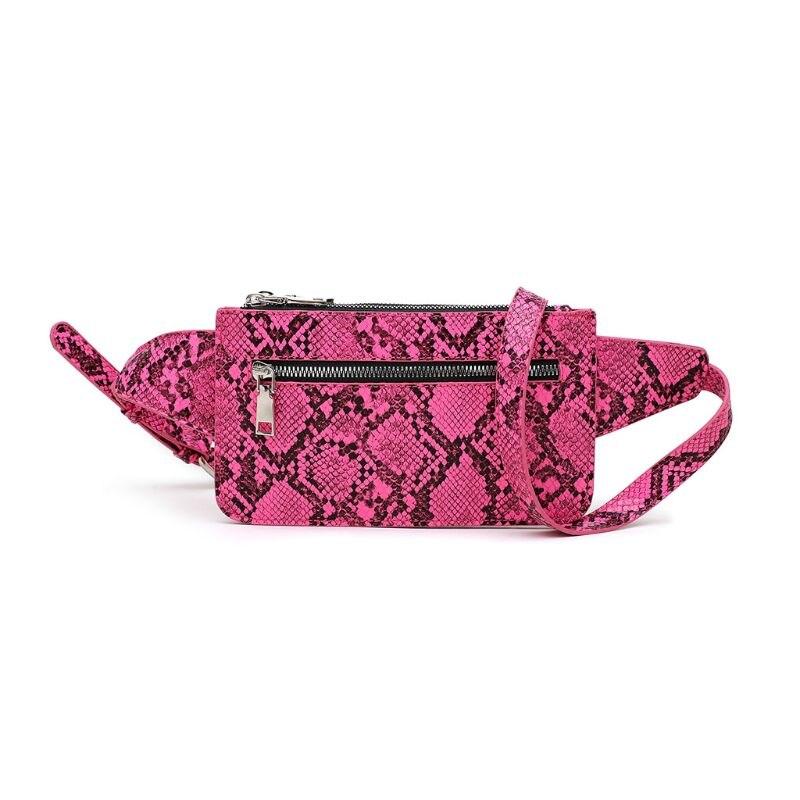 Riñonera de cuero PU con estampado de serpiente para mujer, bolsa para teléfono, bolsa de viaje, cadera, bu-4xff