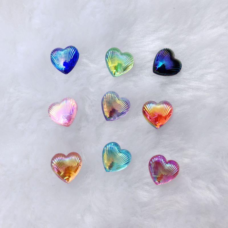 100 pces 8mm ab coração strass flatback acrílico & resina pedras de cristal não hotfix scrapbook grânulos-a39