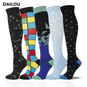 Носки компрессионные для мужчин и женщин, нейлоновые медицинские длинные быстросохнущие носки для профессионального велоспорта, для сняти...