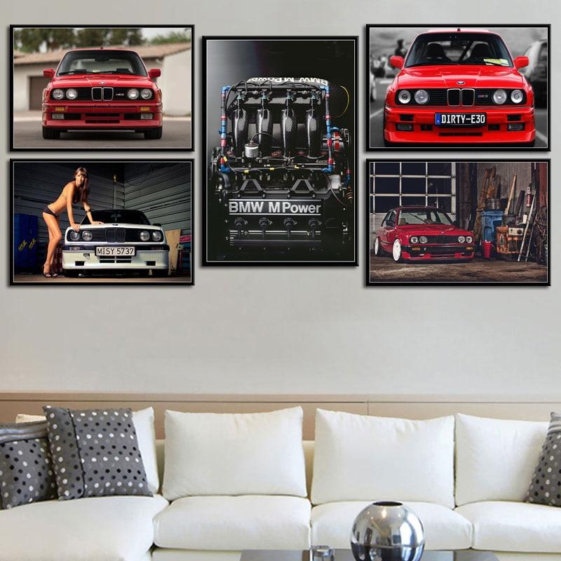 G248 arte decoración BMW M3 M de potencia del motor Super coche de carreras clásico Vintage cuadro sobre lienzo para pared de cartel