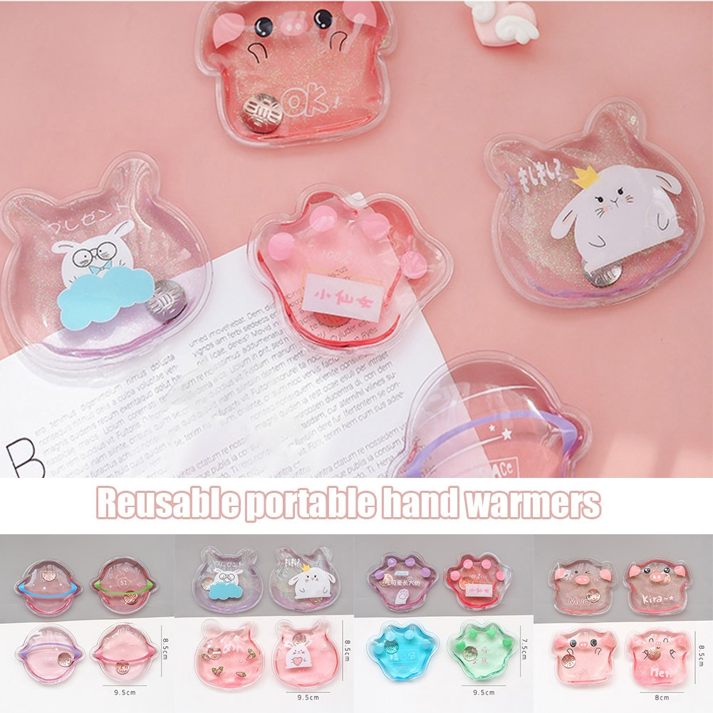 Mini Winter Reusable Gel Hand Warmer Cute Cartoon Instant Self Heating Pack Warmer Portable Hot Wate