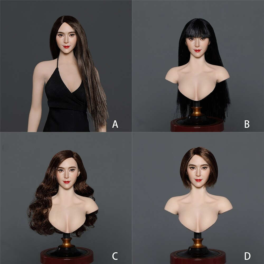 gactoys cabeca de beleza asiatica 1 6 modelo de escultura de cabelo longo preto cabeca