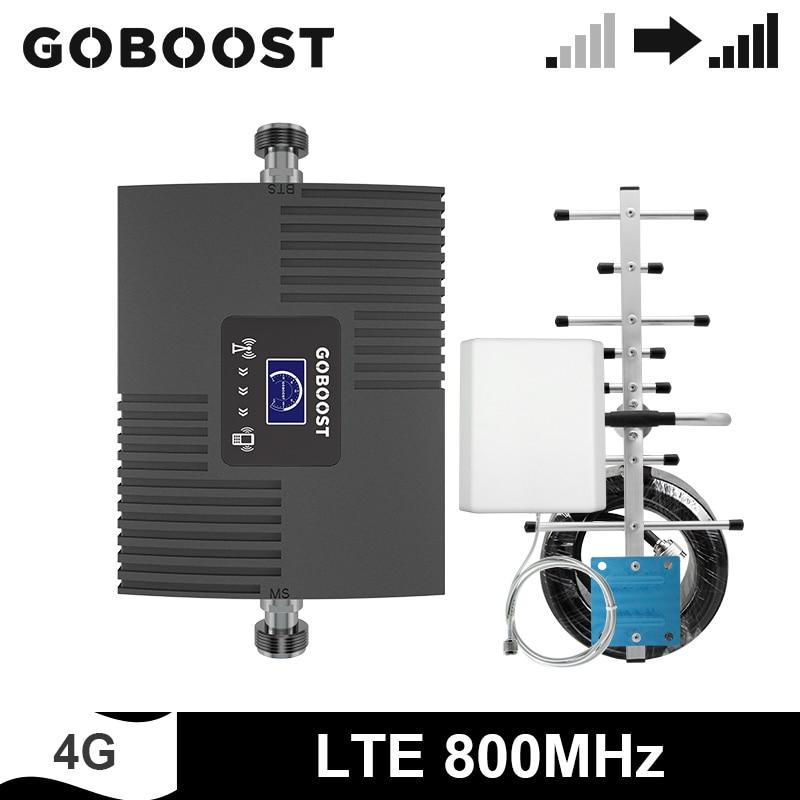 GOBOOST Band 20 LTE 4G 800MHz Cellular Verstärker Netzwerk Signal Booster Handy Repeater Antenne Mit 10M koaxialkabel Kit