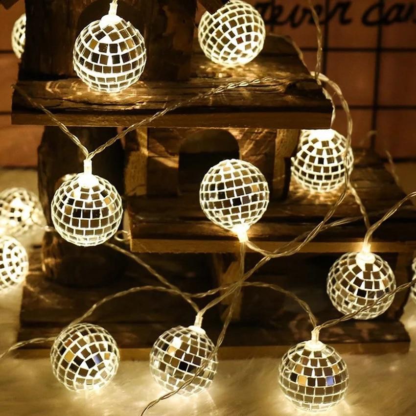 String Lights Mirror Ball Lights Disco Ball Lights USB Battery Style Outdoor Indoor Bedroom Windows Christmas Tree Decoration