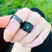 anime black cat claw rings girl boy ladybug cartoon green enamel love ring paw print gothic jewelry party kids rings gift 2021