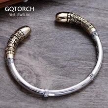Véritable 925 bijoux en argent Sterling Vintage manchette Bracelets hommes singe roi doré Cudgel haute qualité supérieure polie