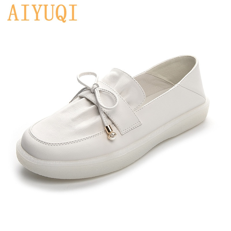 AIYUQI Vulcanized Shoes Women Large Size 41 42 New Spring 2021 Bowknot Genuine Leather Soft Sole Loafer Shoes Ladies Nurse Shoes