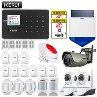 KERUI-alarme sans fil GSM G18  maison avec detecteur de mouvement  kit de cameras de securite interieure et exterieure  anti-sirene solaire pour animaux de compagnie