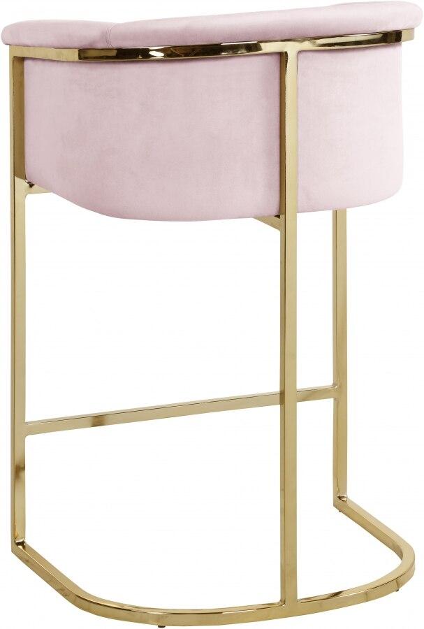 كرسي بار مع مسند ظهر وردي مخملي ، أثاث صناعي فاخر ، للبار ، المتجر ، 2021