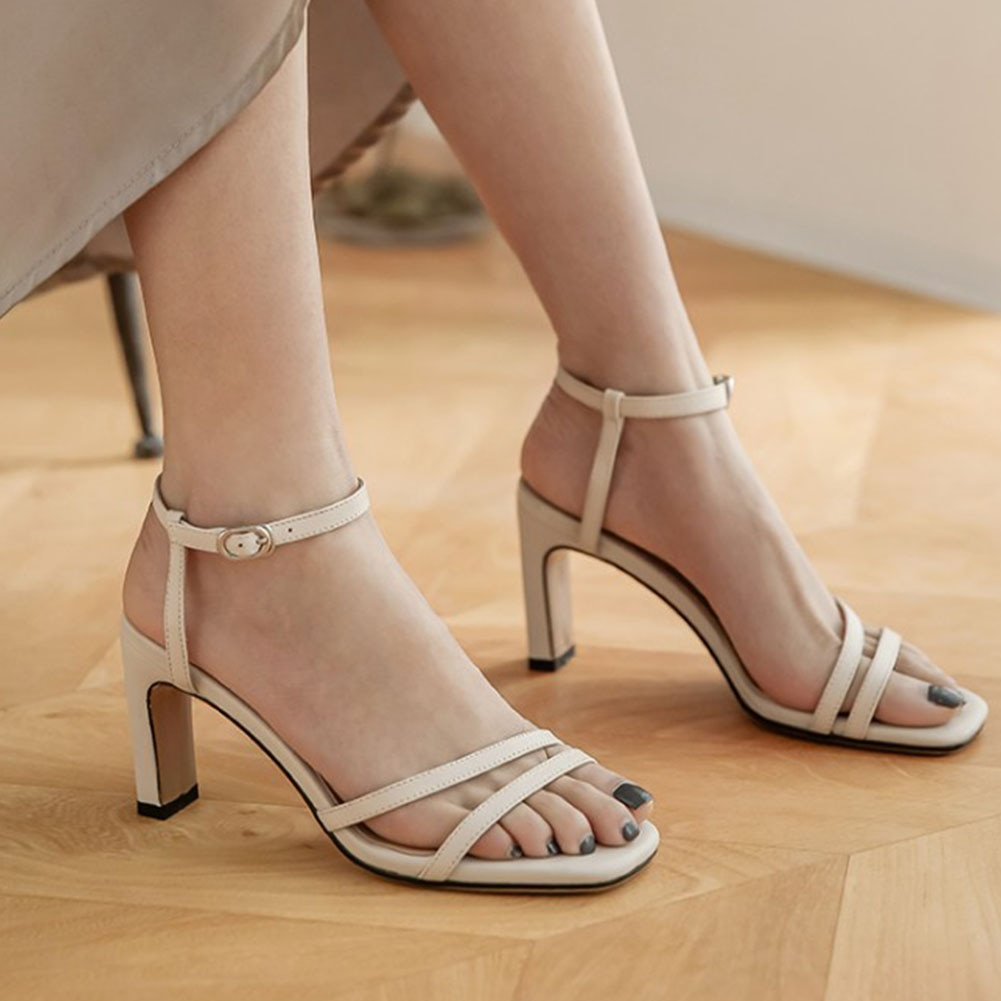 SARAIRIS Solid Elegant Buckle Strap Women Sandals Fashion Comfy Concise Office Lady Spike Heels Wome