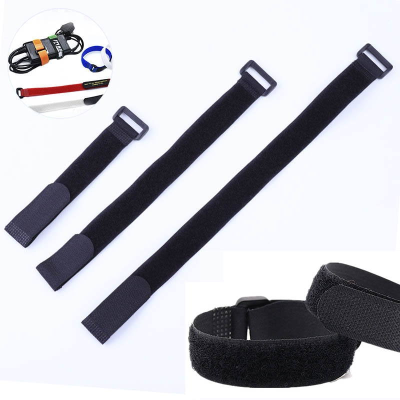 10pcs Black Nylon Adhesive Fastener Tape Cable Ties Reverse Buckle Tape Strap With Buckle Loop Strap Cord Ties cable strap