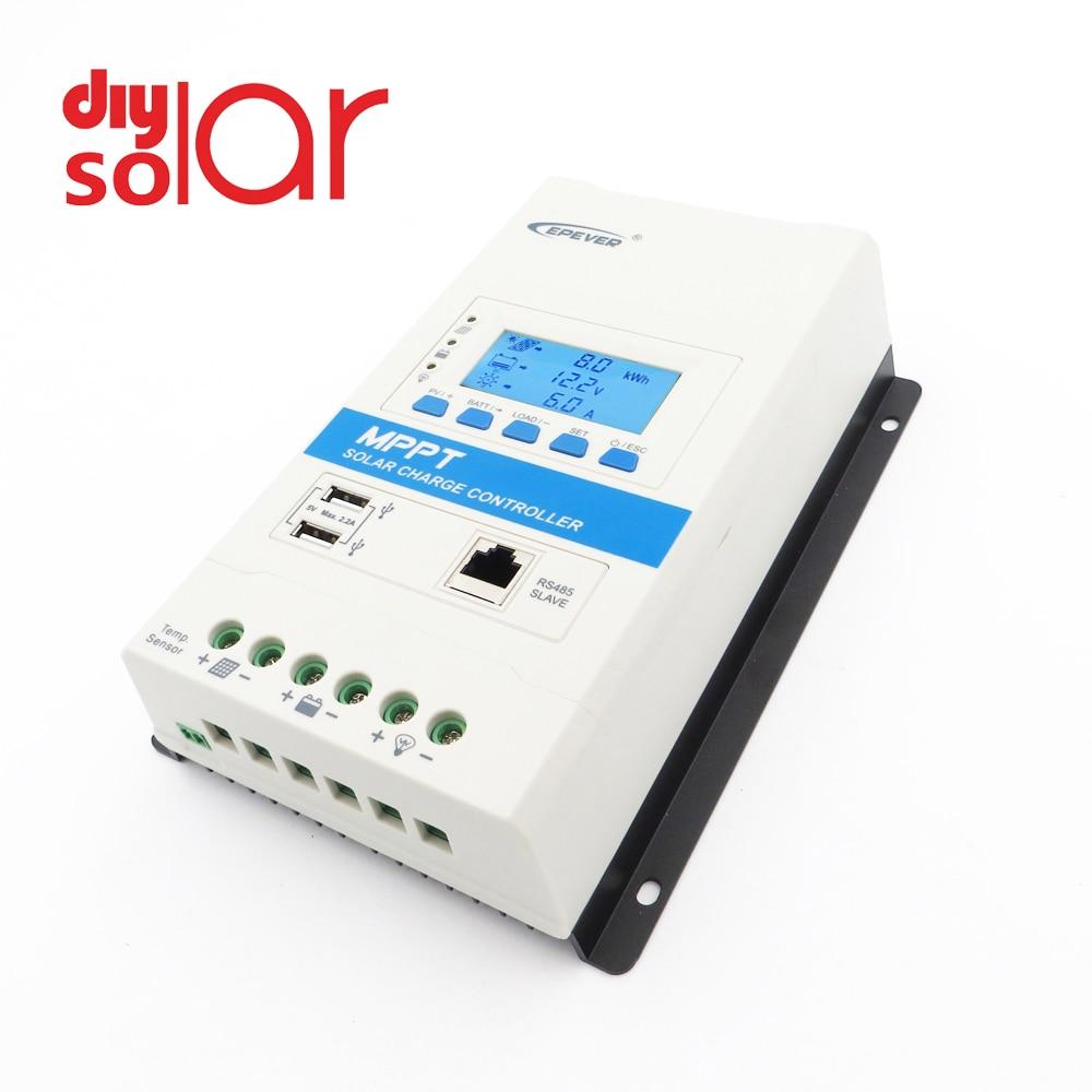 EPEVER TRIRON MPPT 40A 30A 20A 10A Solar Charge Controller 12V 24V Black-light LCD Modular Solar Regulator Negative Grounding