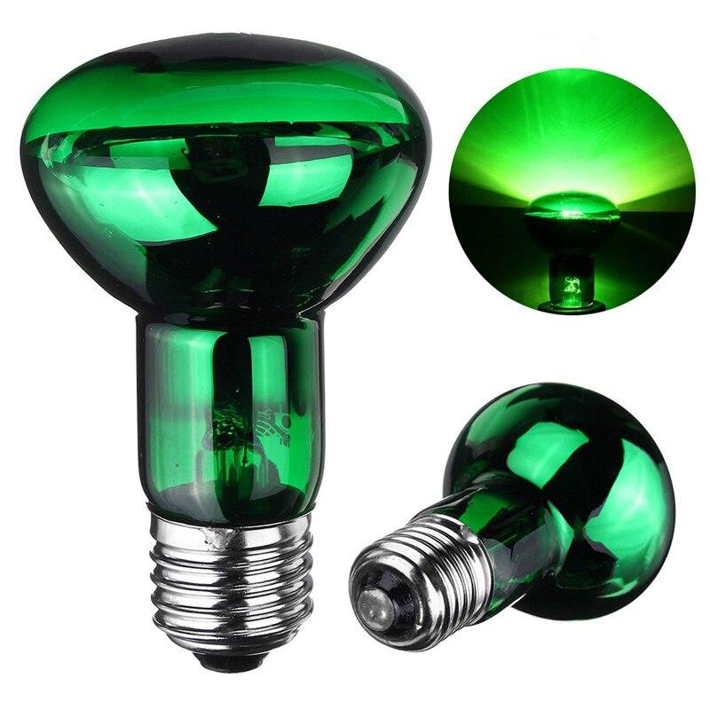 Ampoule de chauffage pour animaux de compagnie 25W/40W/50W/60W/75W/100W E27 R63 ampoule de lampe de lumière de nuit verte pour Reptile animal de compagnie couveuse AC220V-240V