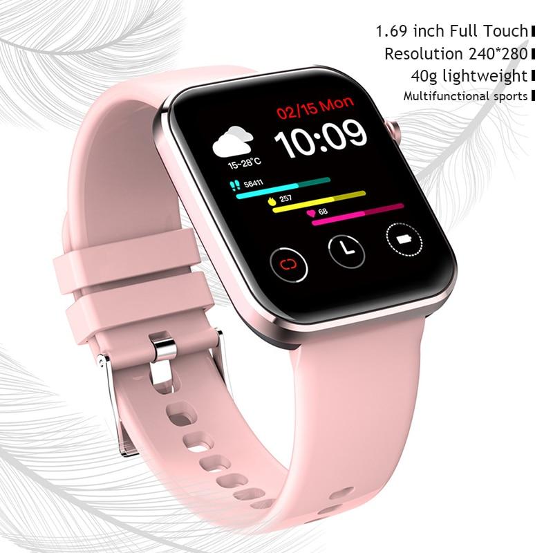 2021 P15 ساعة ذكية 1.69 بوصة الرجال شاشة تعمل باللمس الكامل IP67 مقاوم للماء النساء Smartwatch للهاتف شاومي iOS أندرويد