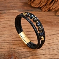 new natural stone men bracelet high quality genuine leather bracelets stainless steel magnet clasp 14 style round beaded jewelry