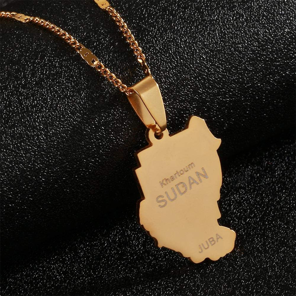 COLLAR COLGANTE de acero inoxidable antiguo Sudan Color oro mapa Sudan joyería de cadena Juba