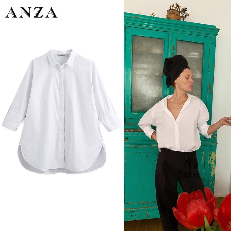 Blusa de mujer ANZA con cuello camisero de manga larga, Camisa lisa de mujer, ropa básica de oficina de verano, Top holgado blanco