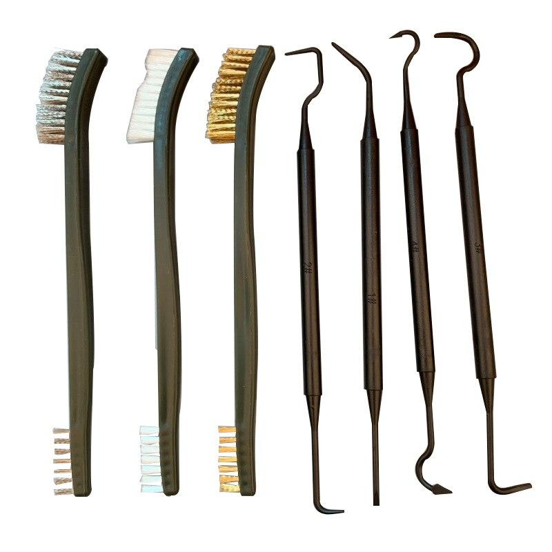 Набор инструментов для чистки пистолета, тактического ружья, 7 шт./компл., 3 щетки из стальной проволоки + 4 нейлоновых отмычек, универсальный ...