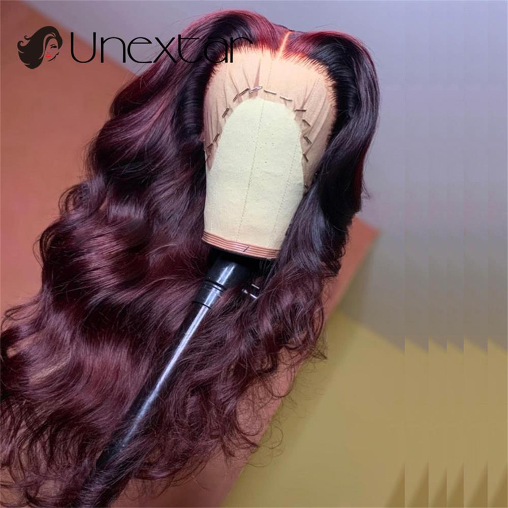 99j Burgundy Red Body Wave 13x4 Lace Human Hair Wigs Colored Brazilian Wavy Loose Deep Part For Women Human Hair