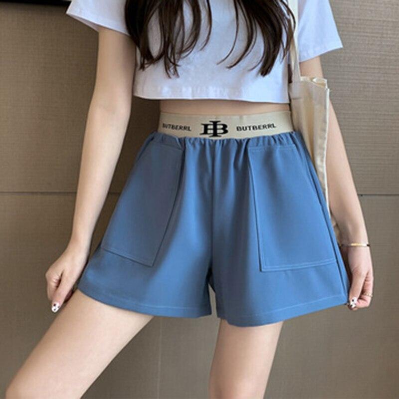 Летние повседневные женские брюки с широкими штанинами, Новинка лета 2021, Молодежные свободные синие спортивные шорты с высокой талией для с...