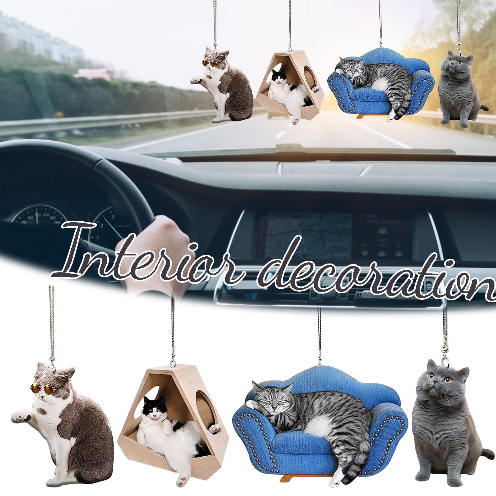 Adorno colgante de gato para coche, adorno 3D con asiento, decoración de...