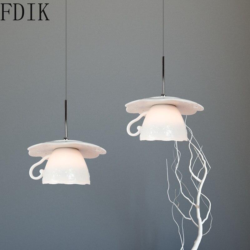 Luces colgantes de cerámica moderna para decoración del hogar dormitorio Comedor Cocina lámpara colgante nórdica Vintage Led lámpara colgante